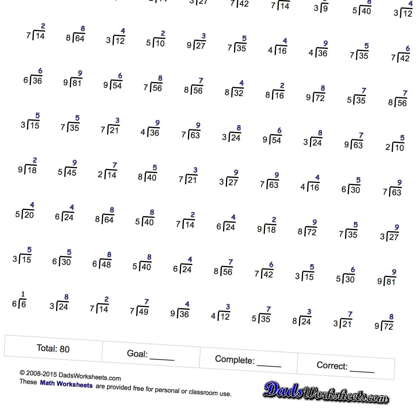 Division Worksheets Just Whole Facts
