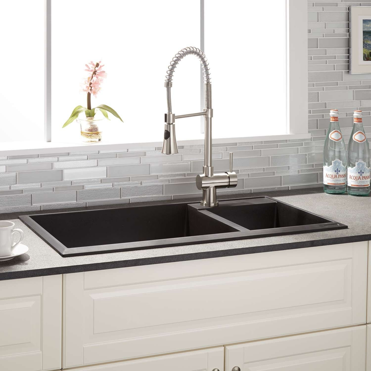 drop in farmhouse kitchen sinks hammered nickel sink 34 quot arvel 70 30 offset double bowl granite