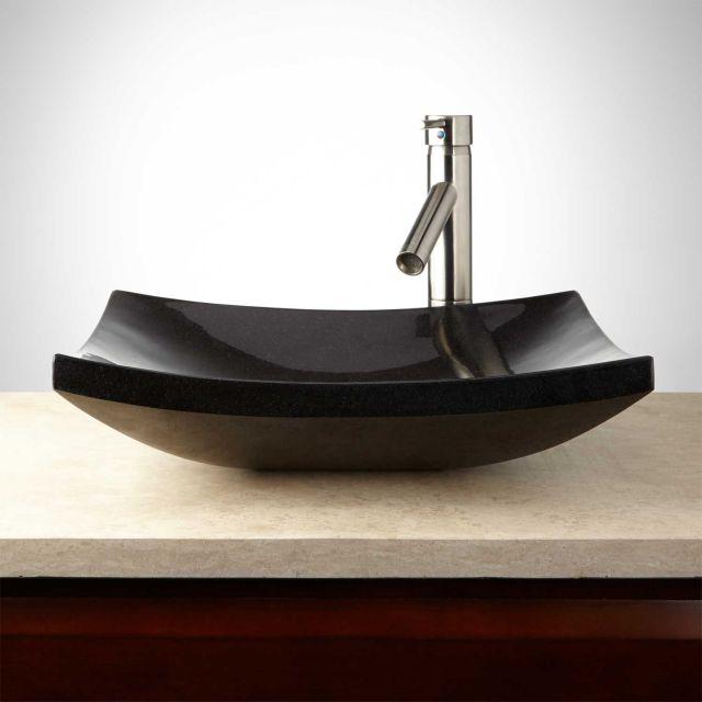 Absolute Black Curved Rectangular Granite Vessel Sink