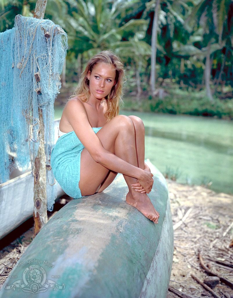 Ursula Andress on the set of Dr.No directed by Terence Young. 1962 | rachel and ursula | Pinterest | Ursula andress and Ursula