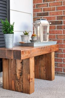 Diy Outdoor Table Bench Front Porch