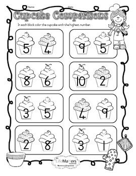 CUPCAKE COMPARISONS COLORING WORKSHEET FOR NUMBERS 1-10