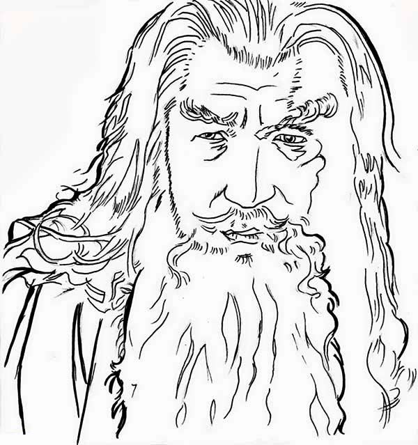 Sketch of Gandalf in the Lord of the Rings Coloring Page