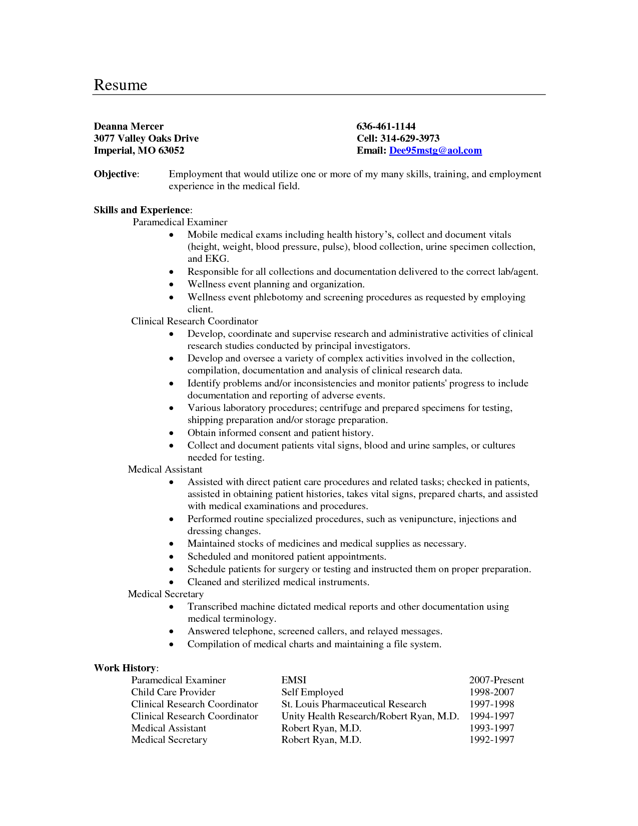 Medical Secretary Resume Objective Examples North Carolina