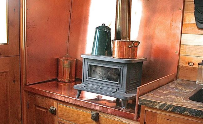 Marine Wood Burning Stove In This Small Kitchen That