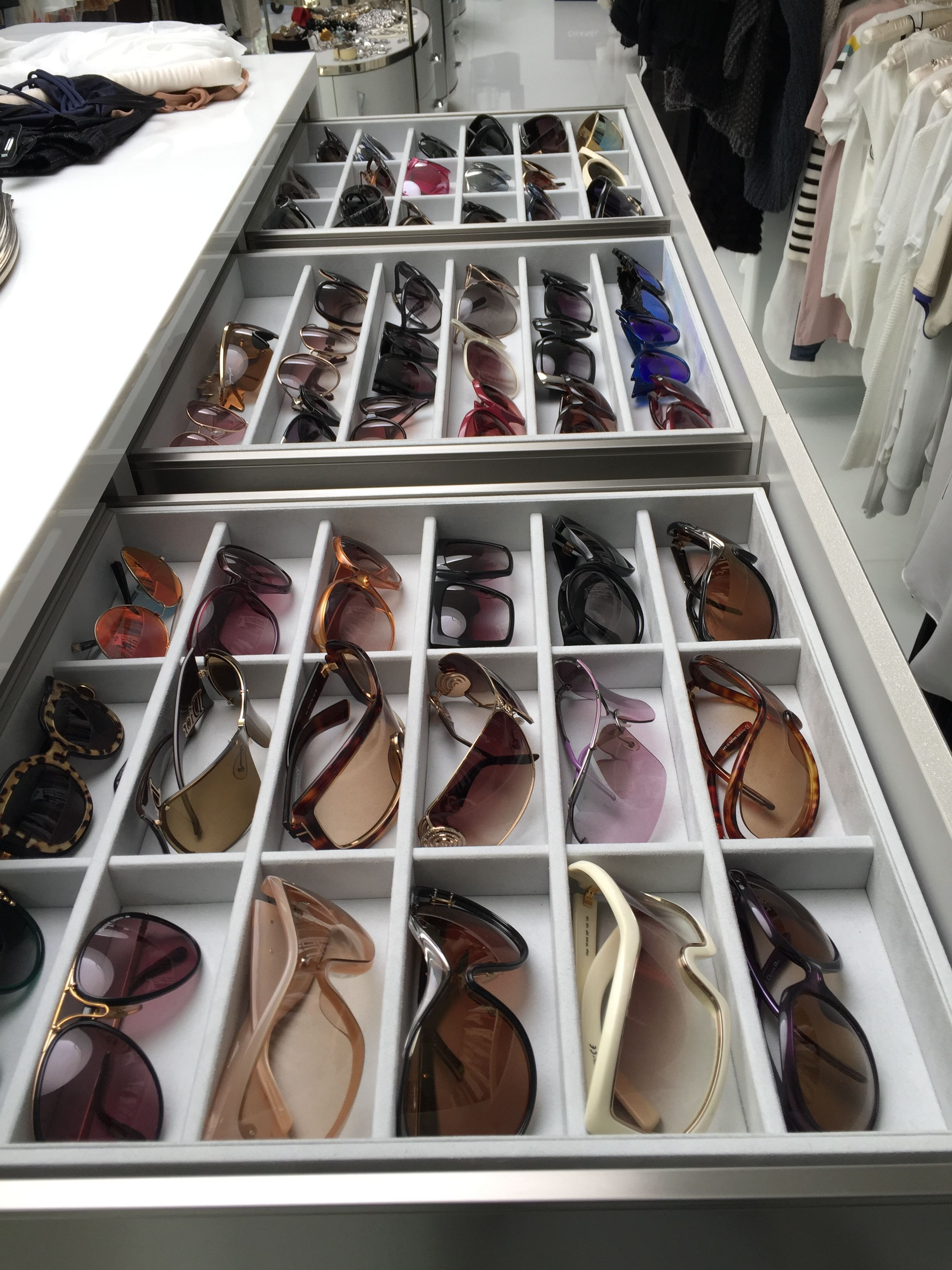 Read this guide to coming out of the closet. Custom drawer organizer for sunglasses   Custom Jewelry ...