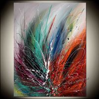 Large Wall Art ABSTRACT PAINTING Red Modern Art by ...