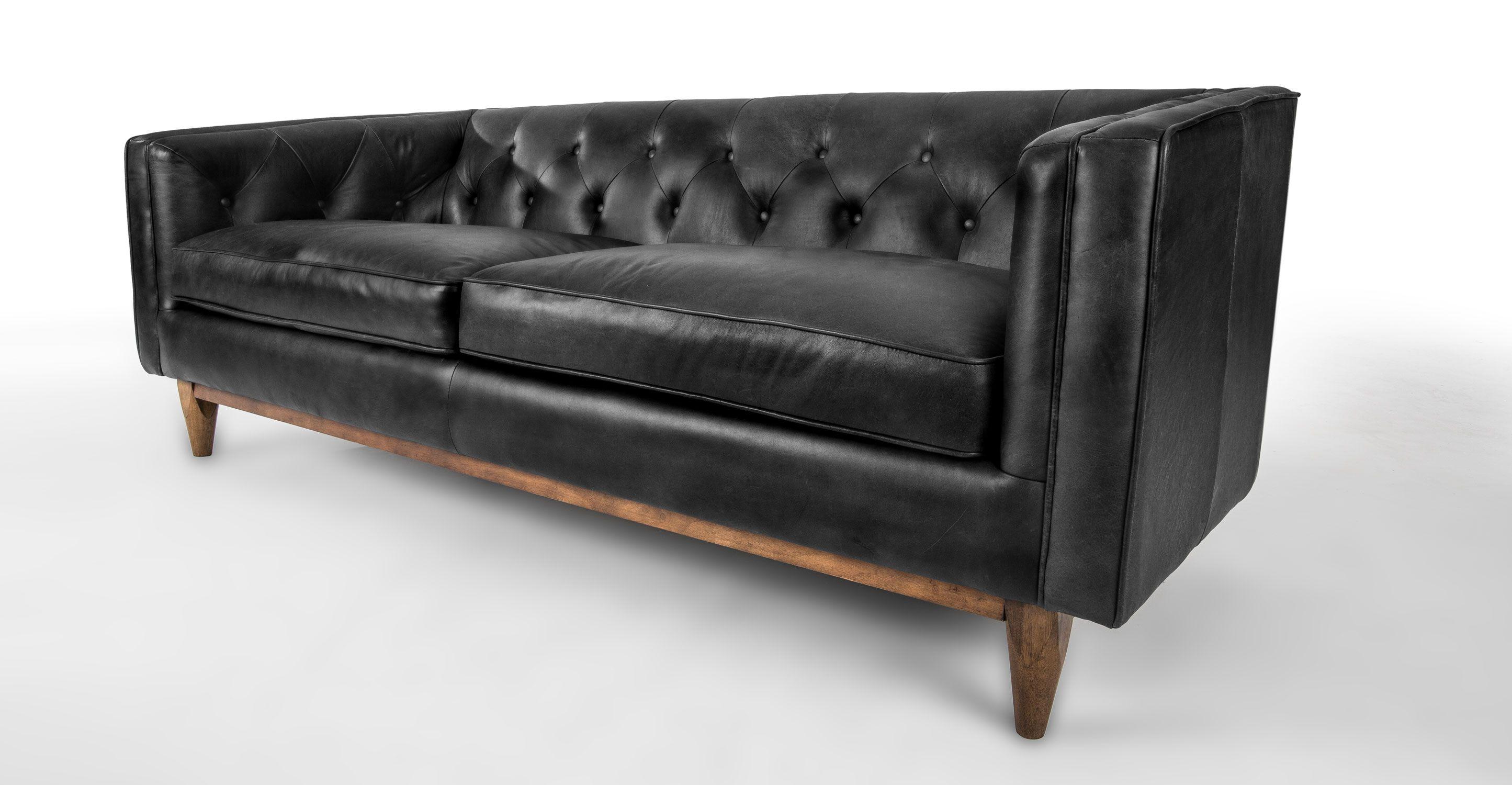 modern black leather sofa single seater malaysia in walnut wood finish article alcott