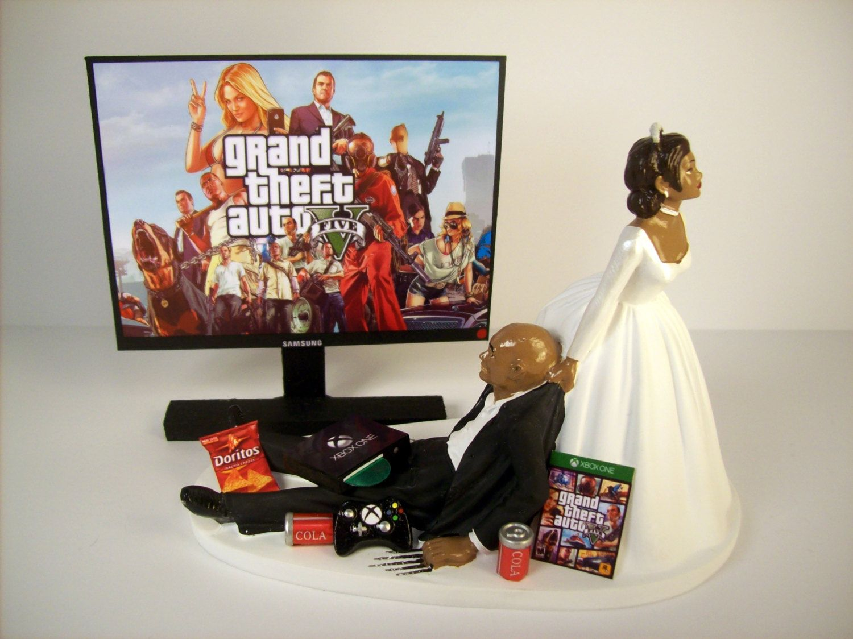 Wedding Cake Topper Custom GTA 5 GAME Video Gamer Xbox One