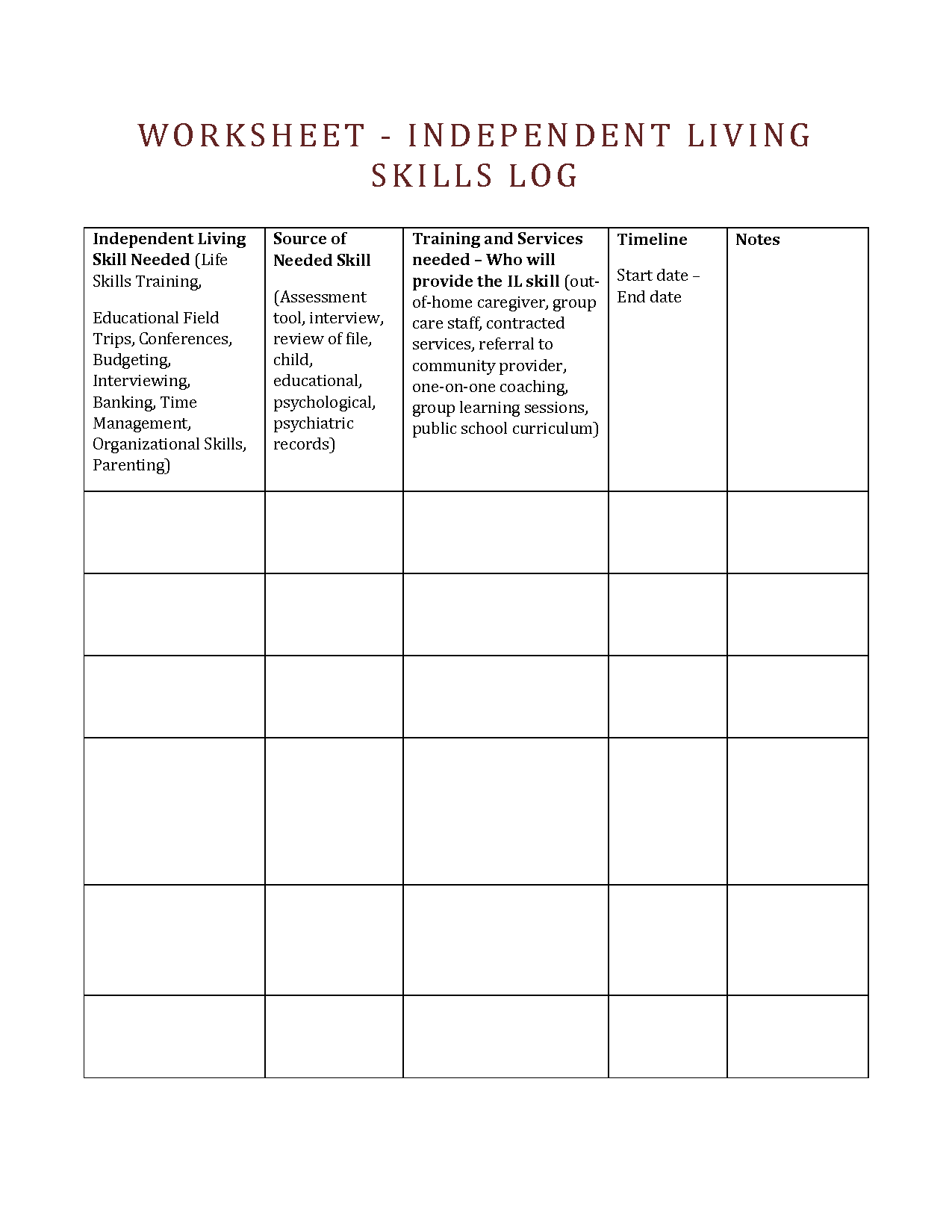 Brain Injury Printable Worksheet