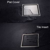 Square Shower Floor Drain with Tile Insert Grate - Made of ...