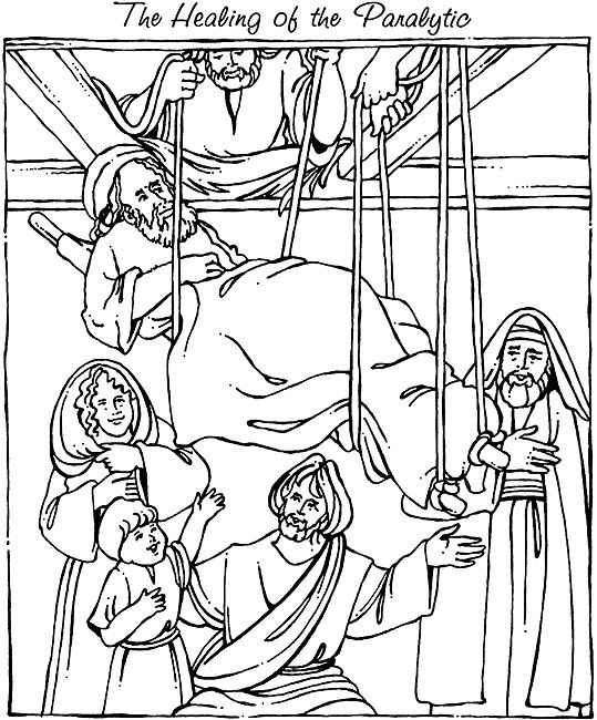 mark 2:1-12 coloring sheets | New Testament #12