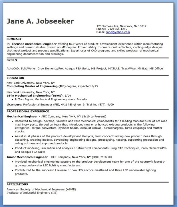 Mechanical Engineering Resume Sample PDF Experienced  Creative Resume Design Templates Word