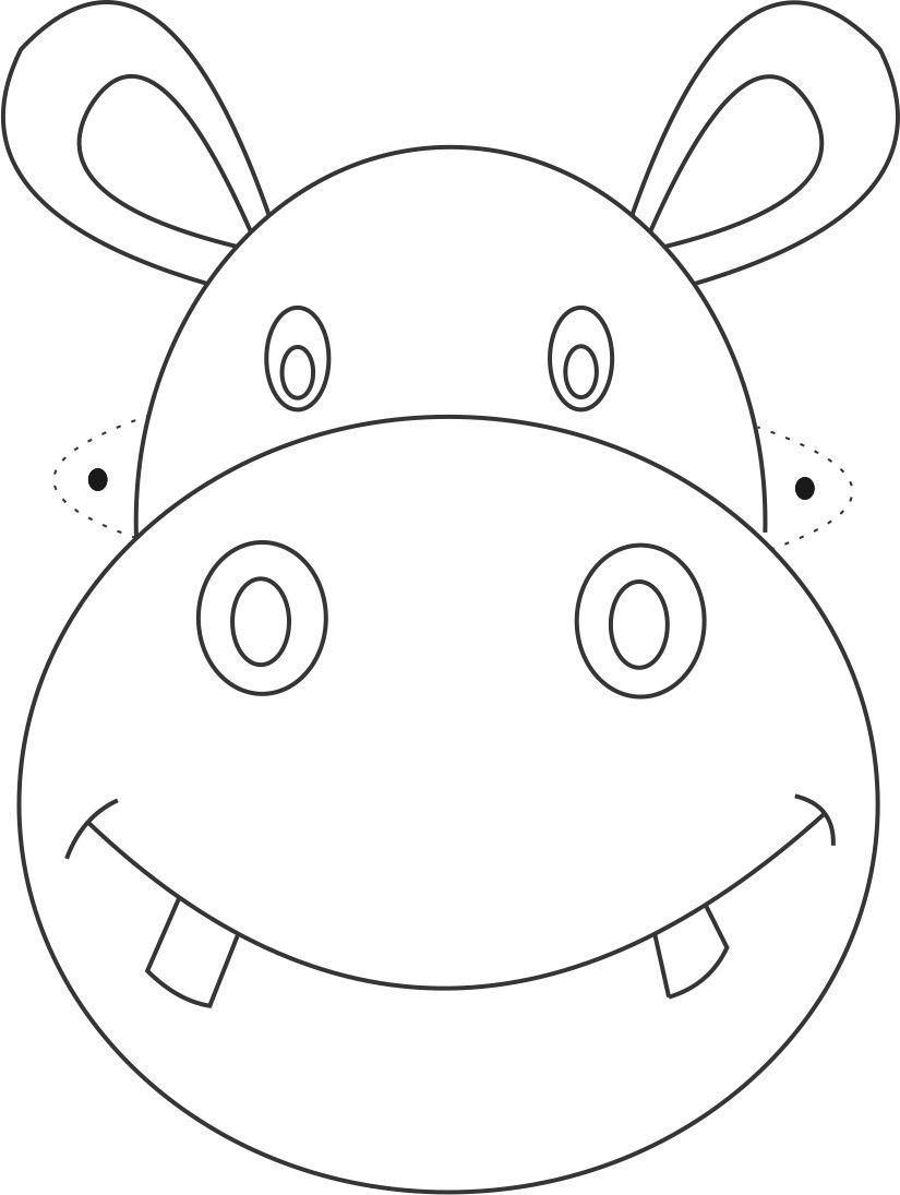 Hippo Mask printable coloring page for kids: Hippo Mask