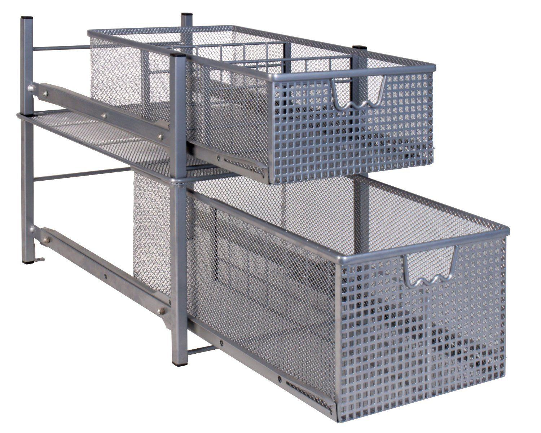 kitchen sliding baskets used cabinets nj amazon decobros mesh cabinet basket organizer