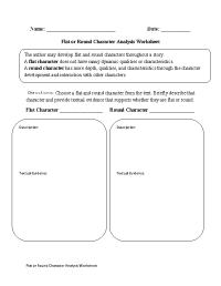 Flat or Round Character Analysis Worksheet | Englishlinx ...