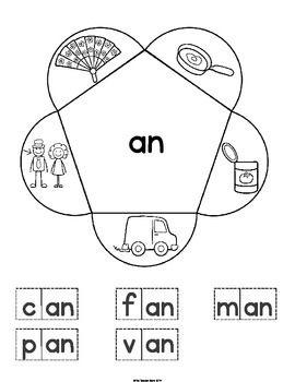 CVC Word Family Interactive Notebook Kindergarten Onset