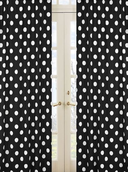 Black And White Polka Dot Print 84 Inch Curtain Panels For Hot Dot