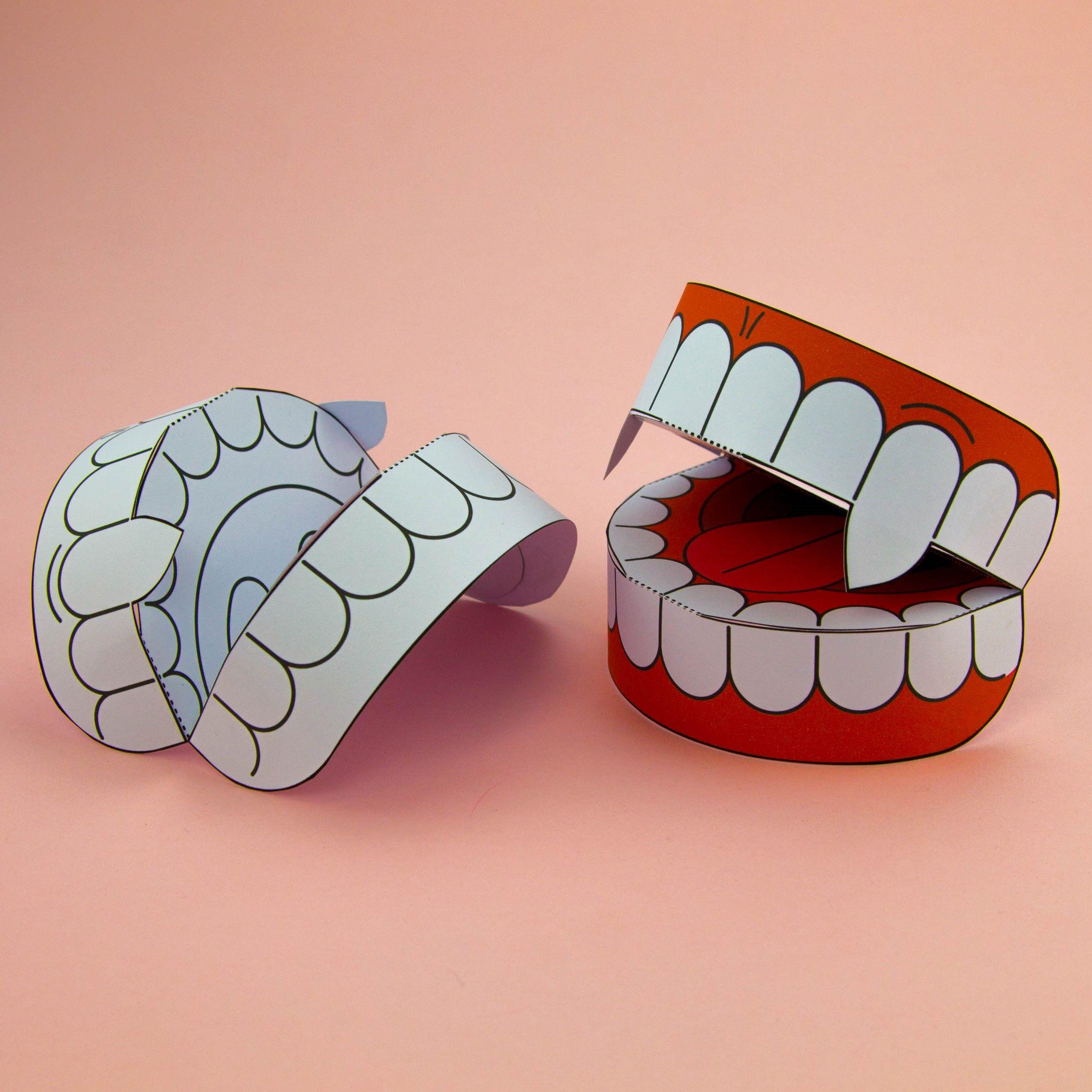 Simple 3d Halloween Vampire Teeth Activity Paper Craft