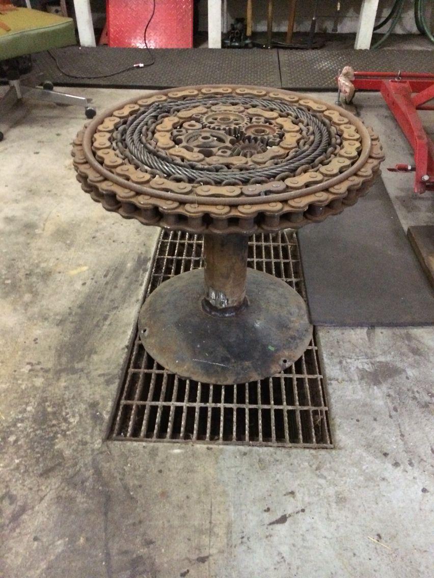 Scrap Metal Table  Cool Furniture  Pinterest Scrap