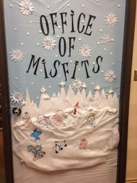 Christmas door decorated Rudolph and the island of misfit