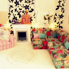 Dollhouse Miniature Sectional Sofa Sailors Diy Doll House Furniture, Love The Floral Pattern Here Too ...