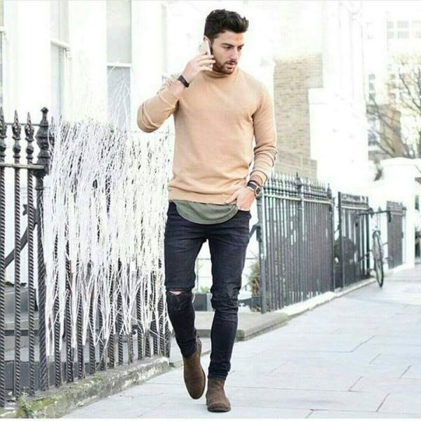 Brown Chelsea Boots Men Outfit