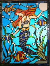 Tiffany style stained glass mermaid fish underwater ...