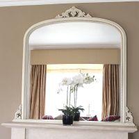 White Beaded Edge Overmantel Fireplace Mirror | Mirrors ...