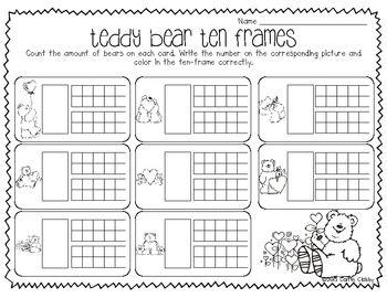 Teddy Bear Ten Frames (K.CC.3) Ten frames with numbers 11