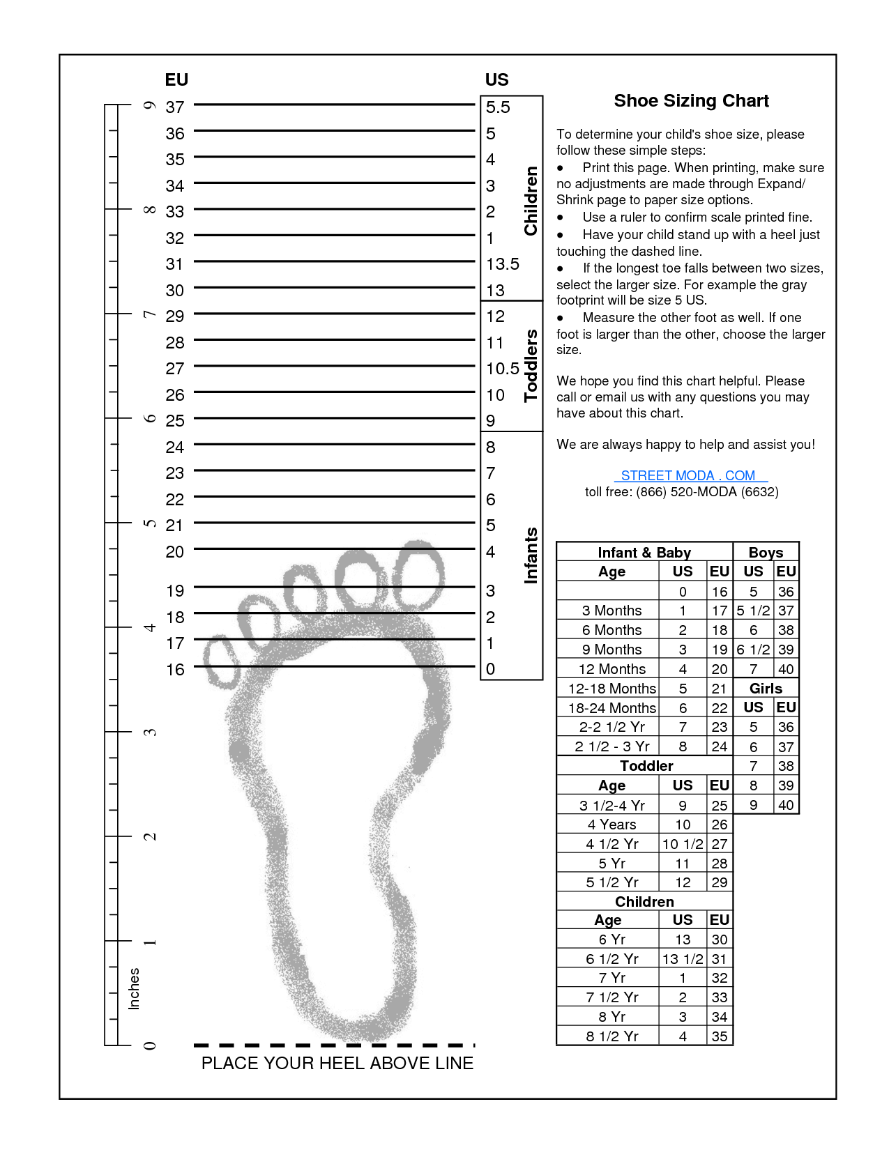 Kids Printable Shoes Size Chart By Measurement And Age