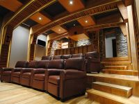 media room with stadium seating | home theater with ...