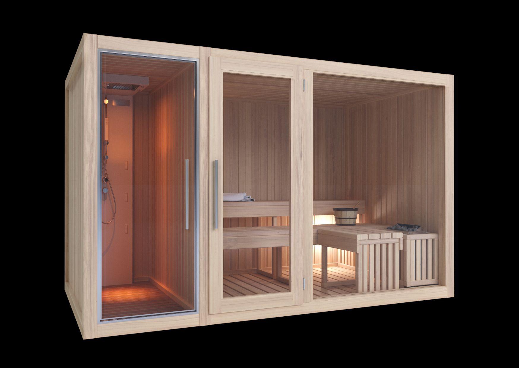 Modelli sauna finlandese e sauna con bagno turco hammam in kit di montaggio  taverna