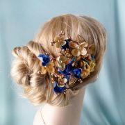 royal blue and gold flower hair