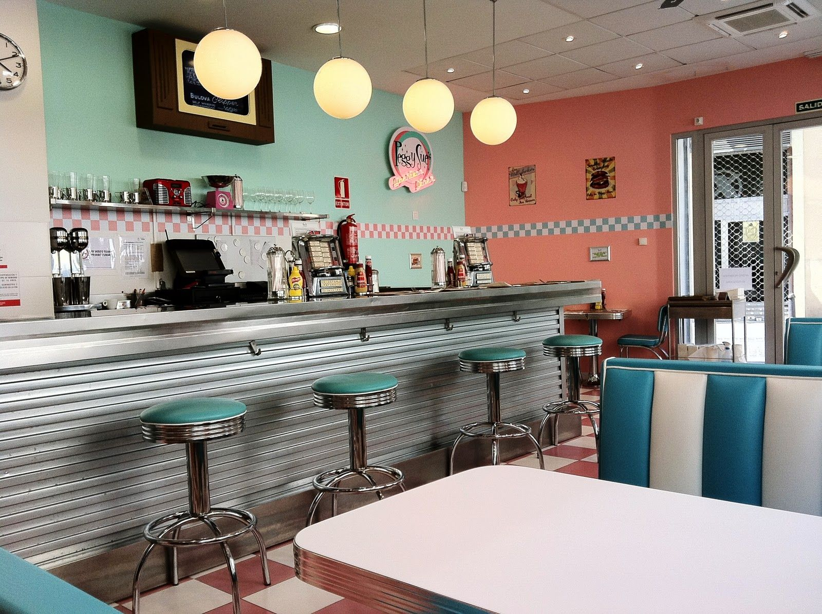 cafe themed kitchen decor commercial flooring options 1950s 1950 39s style american diner in valencia