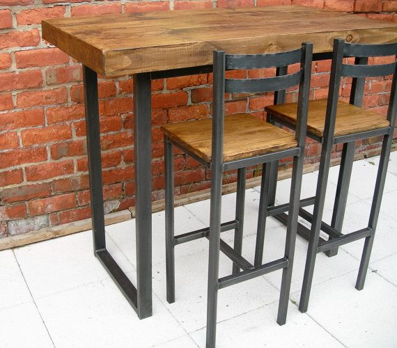 Breakfast bar table & bar stools rustic by