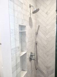 Small shower ideas. Shower niche shelf. Carrara marble ...