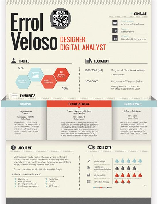 Creative Graphic Resume Designs Which Will Amaze You – 53 Examples