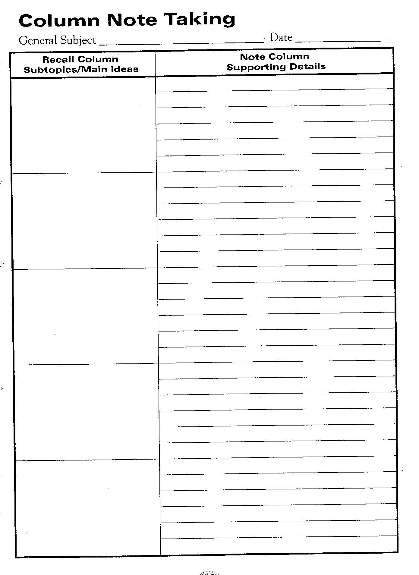 Free Printable Cornell Notes Graphic Organizer