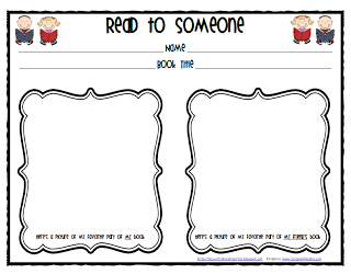 Lil Country Librarian: Read to Someone Response Sheet
