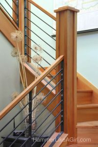 stair railing design, custom stair railing, metal and wood
