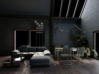 Dark living room with dark grey walls and sofa on dark