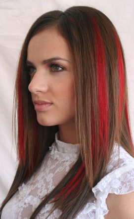 red streak hair chalk color fun hair colors pinterest straight hairstyles hairstyles