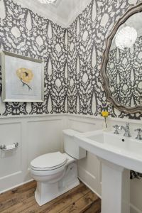 floral wallpaper Powder Room Traditional with wainscoting ...
