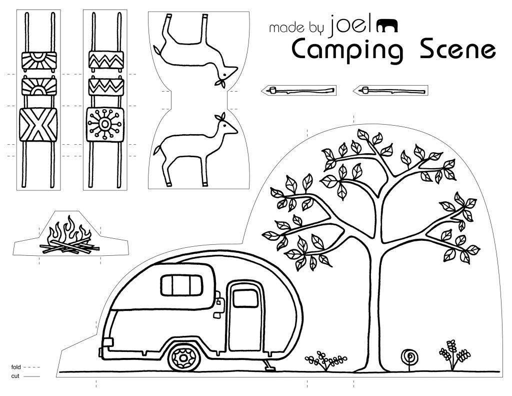 Made By Joel Paper City Camping Scene Free Printable