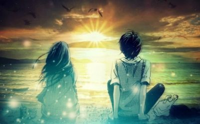 Awesome Cute Couples Wallpapers Animated Romantic Cute Couple Watching Sunset Together