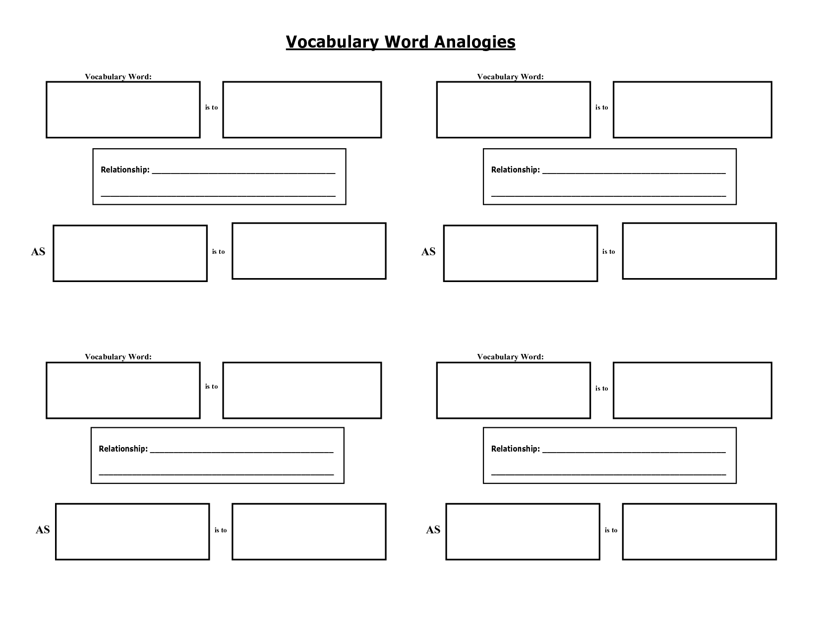 Vocabulary Word Graphic Organizer