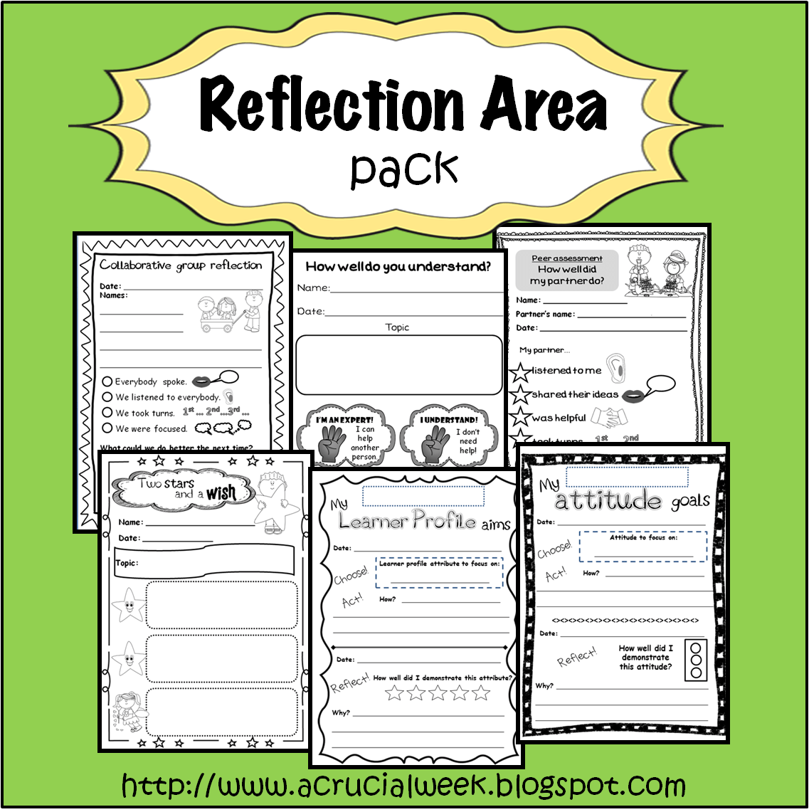Reflection Area Pack With Peer Assessment Group Assessment General Reflections And Goal
