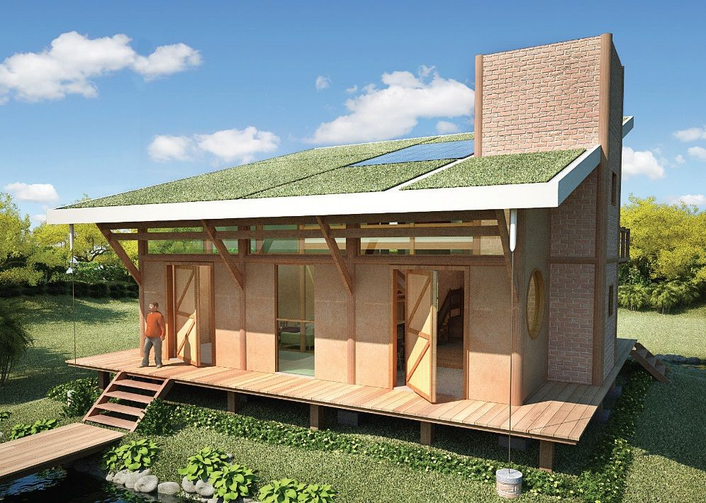Casa ecolgica Tijolo Ecolgico de solocimento  madeira ecolgica  telhado verde