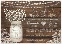 Rustic Wood Lace Wedding Invitation, Mason Jar Card ...
